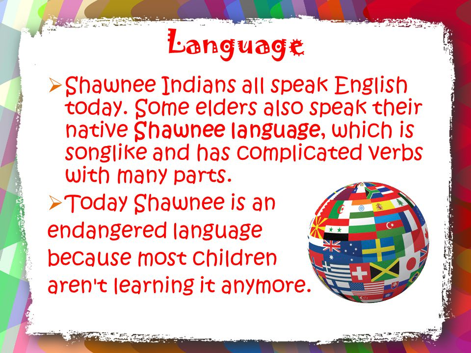 Language  Shawnee Indians all speak English today.