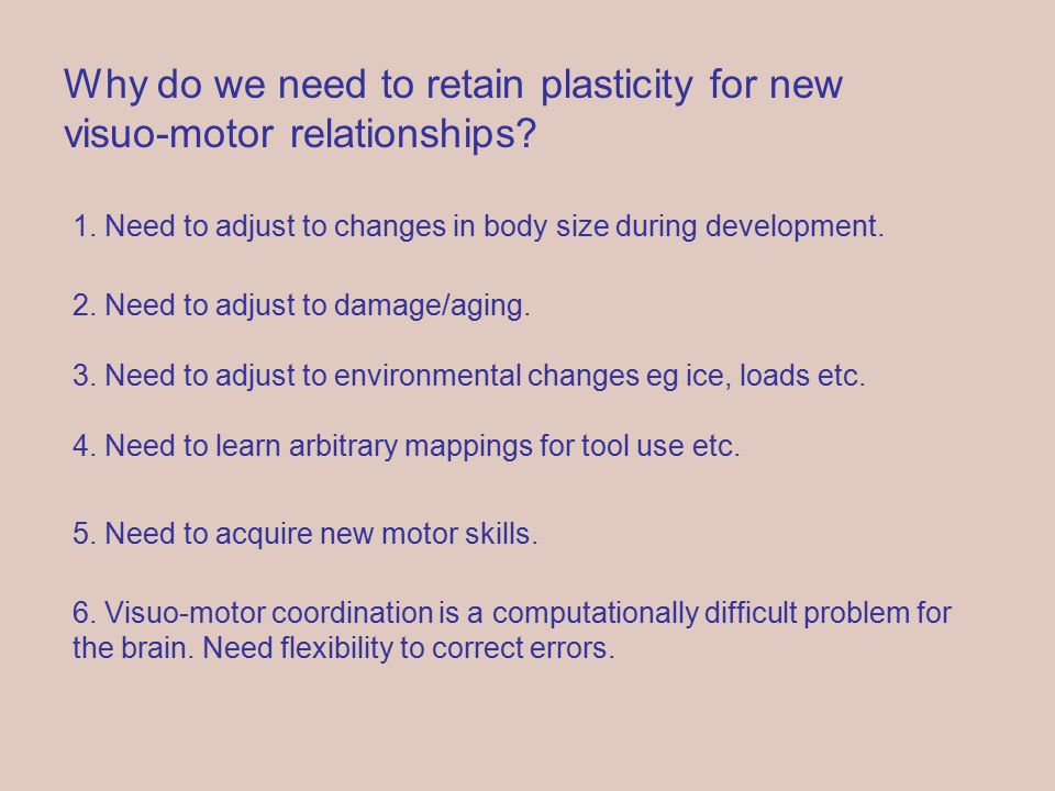 Why do we need to retain plasticity for new visuo-motor relationships.