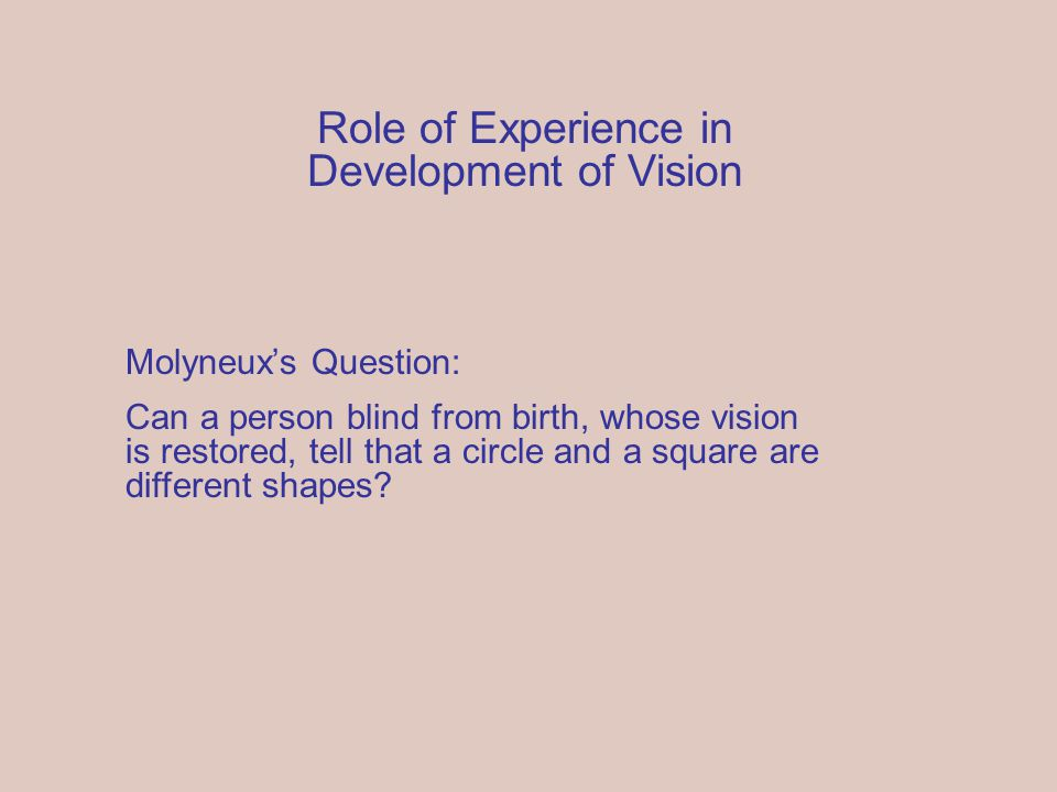 Molyneux's Question: Can a person blind from birth, whose vision is restored, tell that a circle and a square are different shapes.