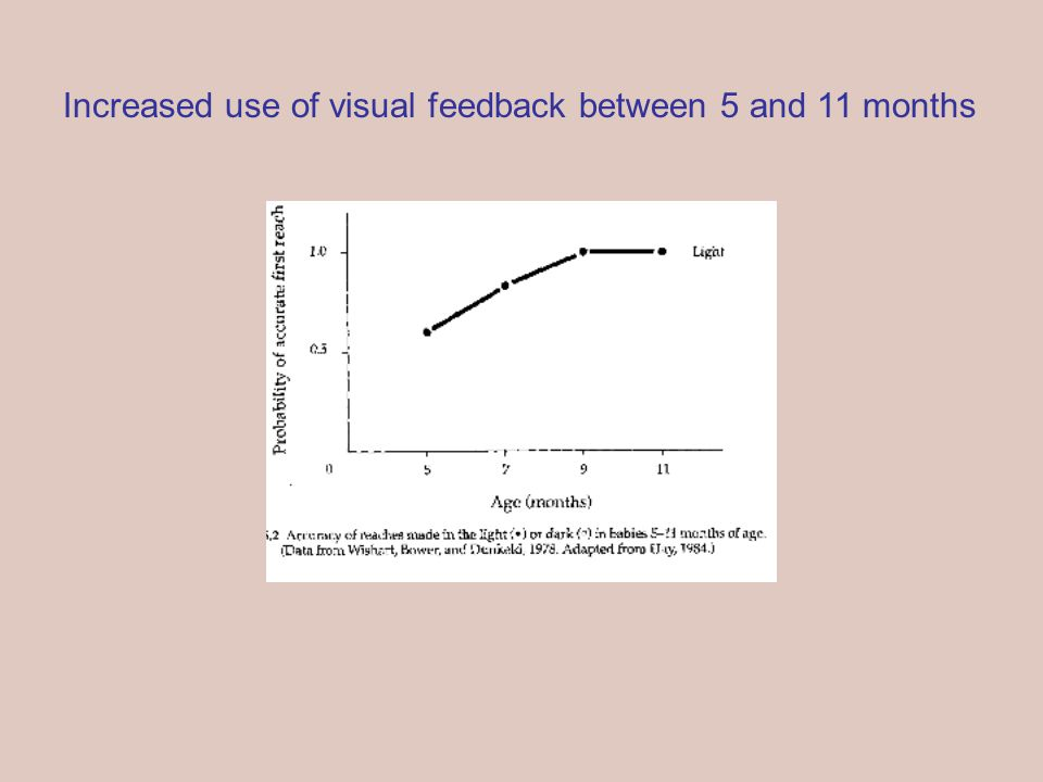 Increased use of visual feedback between 5 and 11 months
