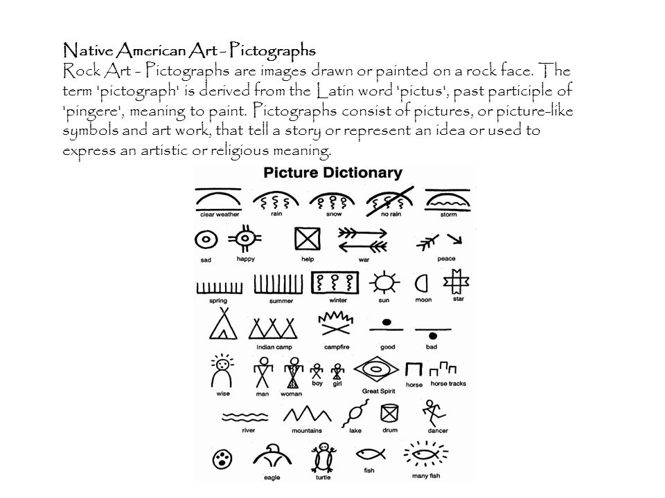 Native American Art - Pictographs Rock Art - Pictographs are images drawn or painted on a rock face.