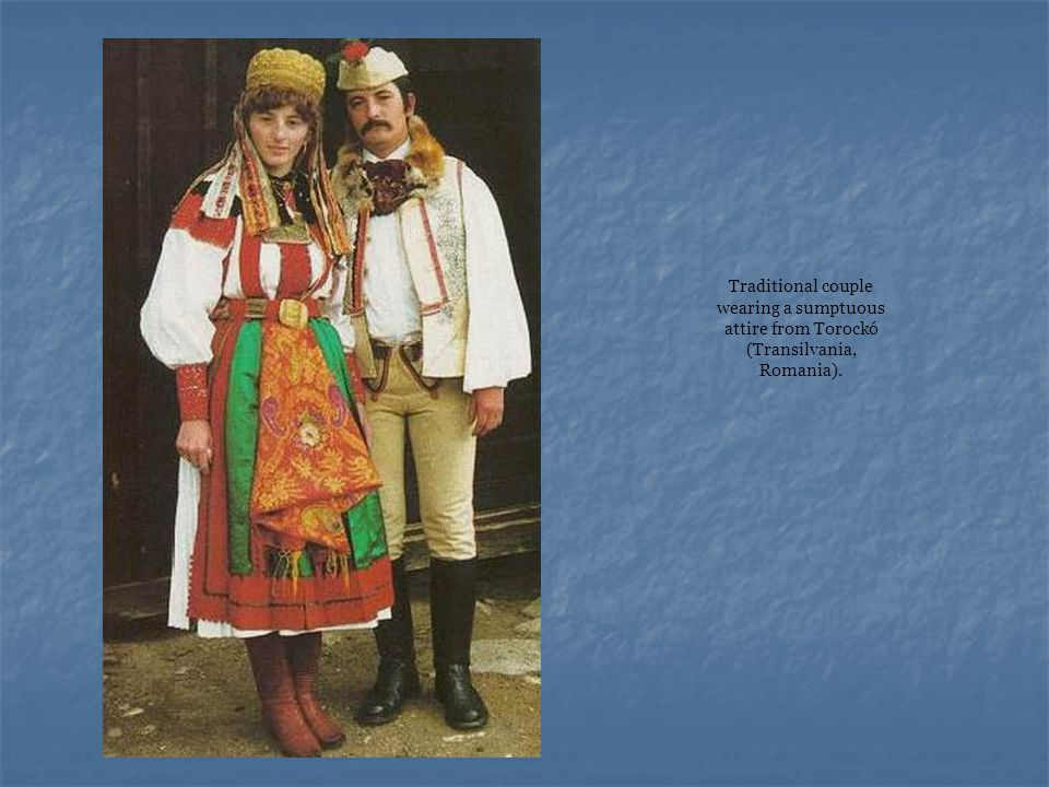 Traditional couple wearing a sumptuous attire from Torockó (Transilvania, Romania).