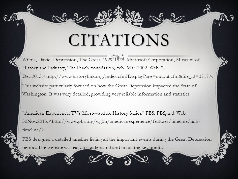 CITATIONS Wilma, David. Depression, The Great, 1929-1939.
