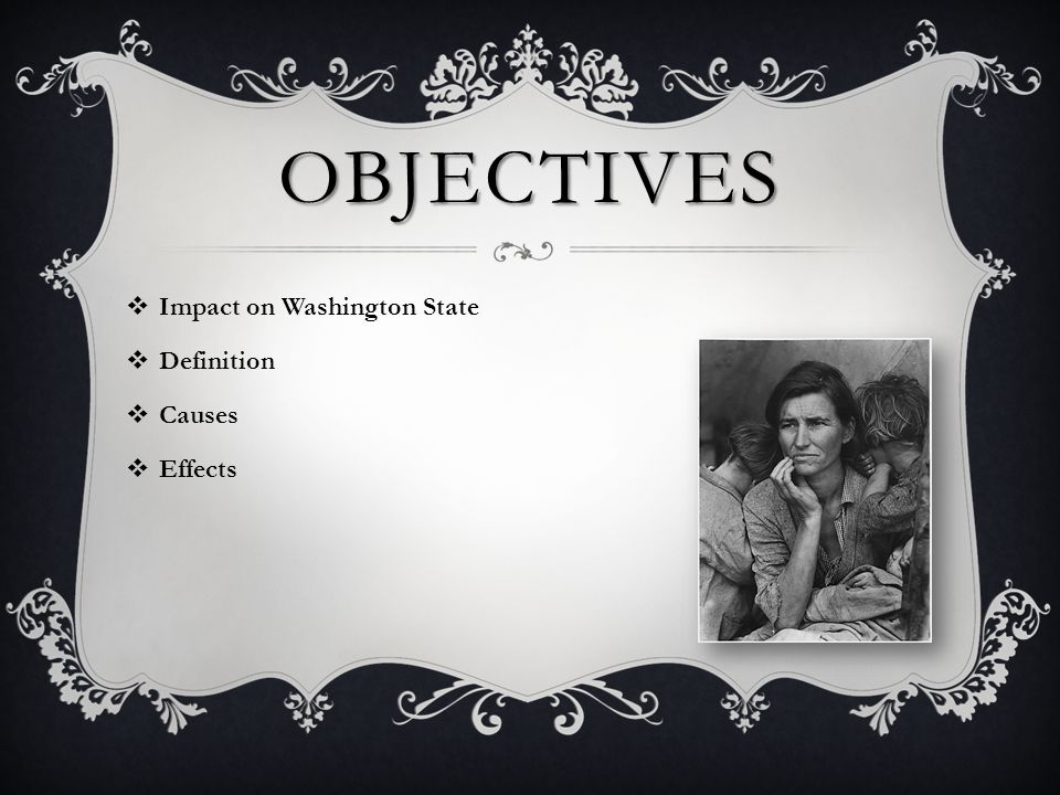 OBJECTIVES  Impact on Washington State  Definition  Causes  Effects