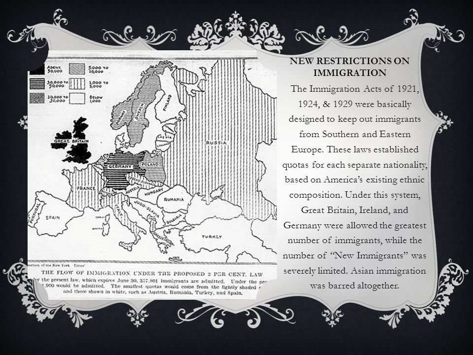 NEW RESTRICTIONS ON IMMIGRATION The Immigration Acts of 1921, 1924, & 1929 were basically designed to keep out immigrants from Southern and Eastern Eu