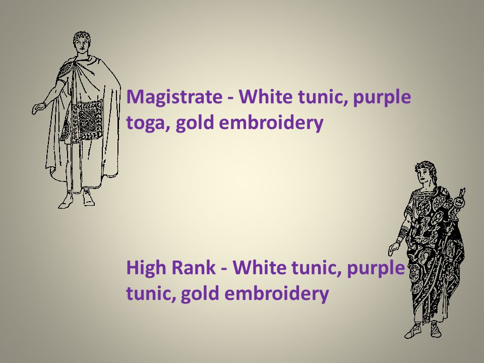 Knight - White toga and tunic, purple bands and sandals Senator - White toga, purple bands and boots