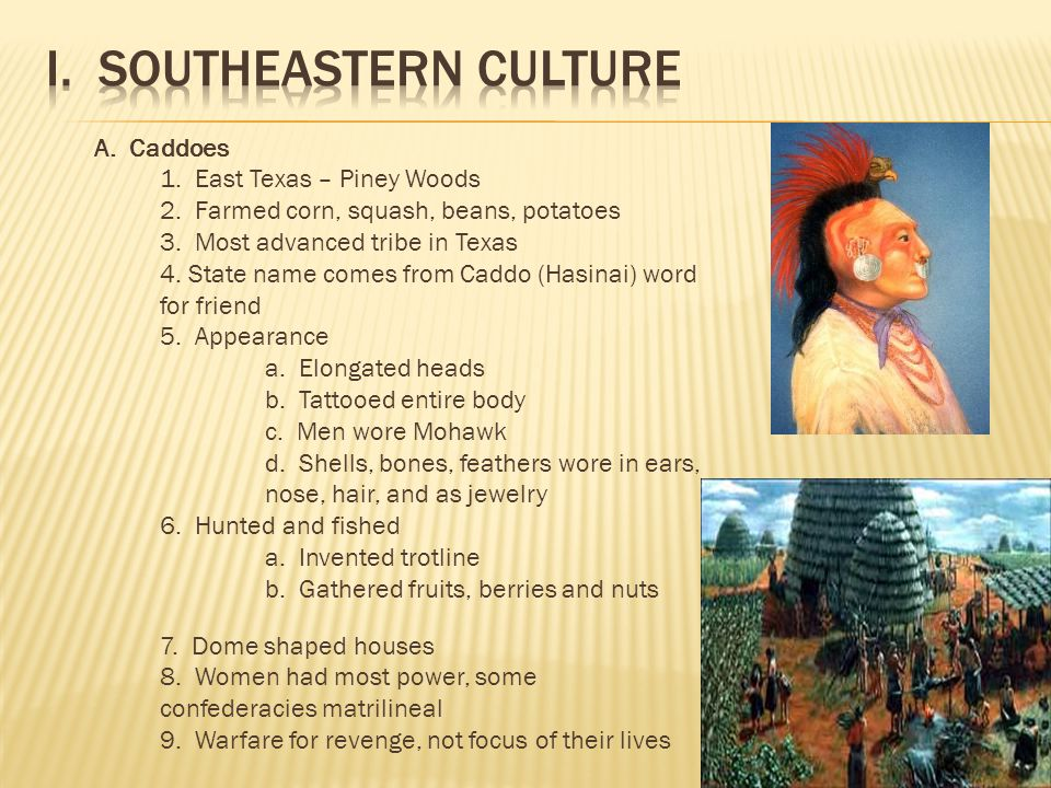 A. Caddoes 1. East Texas – Piney Woods 2. Farmed corn, squash, beans, potatoes 3.