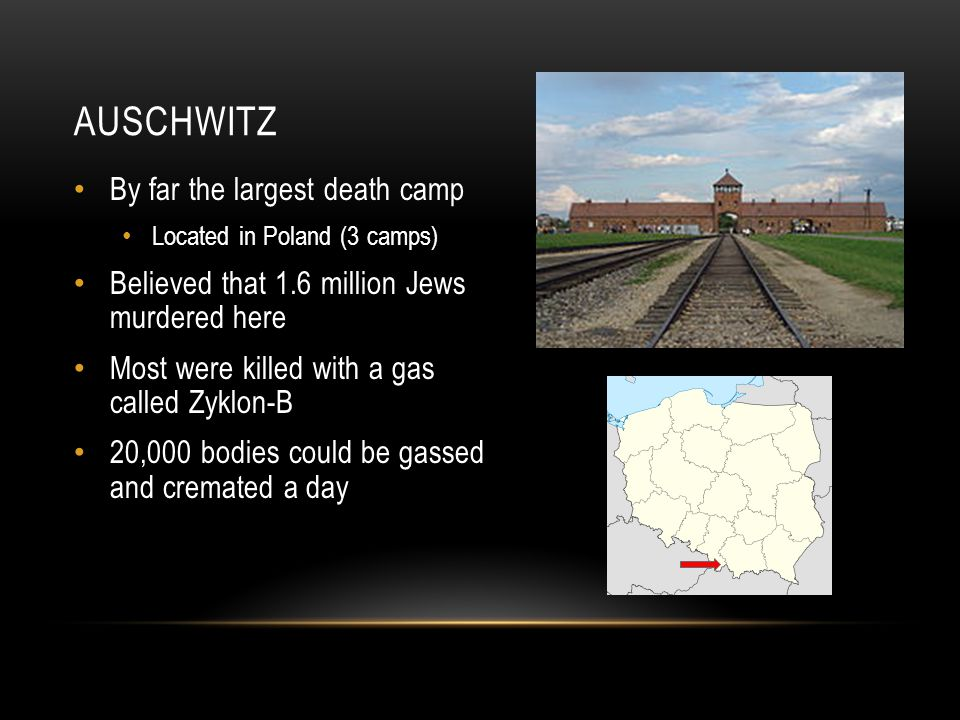 AUSCHWITZ By far the largest death camp Located in Poland (3 camps) Believed that 1.6 million Jews murdered here Most were killed with a gas called Zyklon-B 20,000 bodies could be gassed and cremated a day