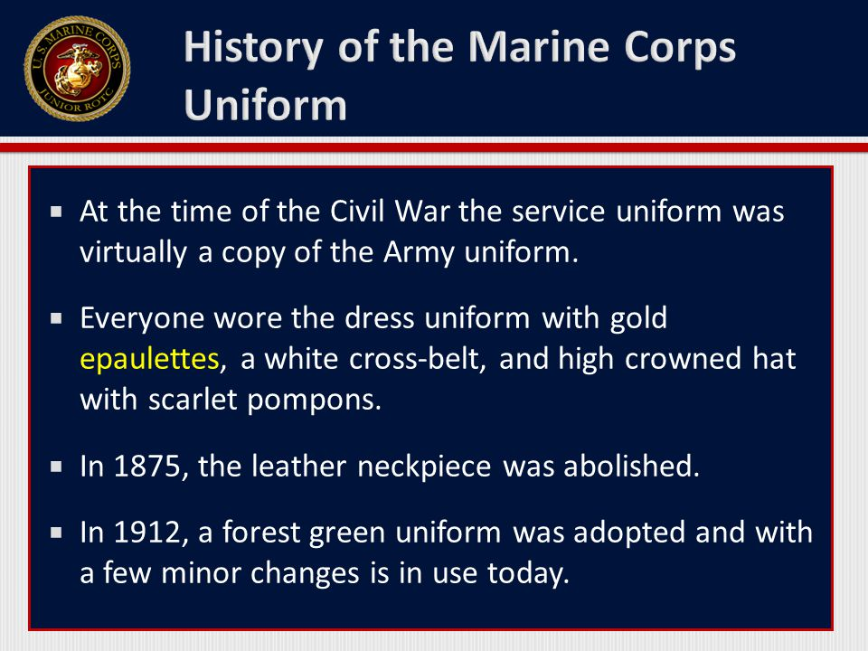  At the time of the Civil War the service uniform was virtually a copy of the Army uniform.  Everyone wore the dress uniform with gold epaulettes, a