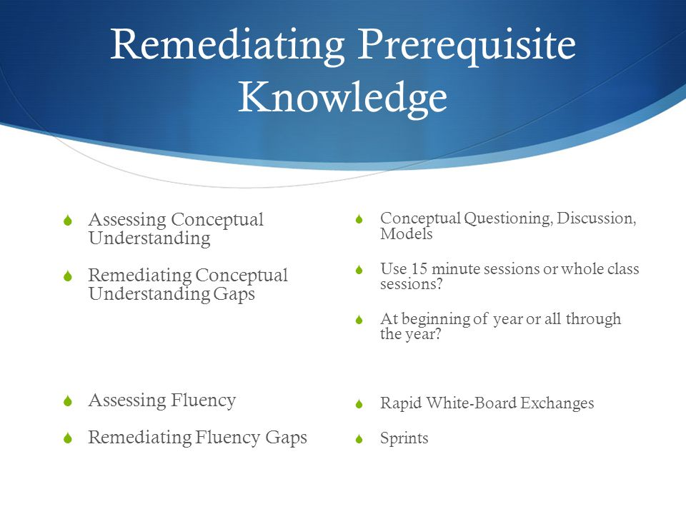 Remediating Prerequisite Knowledge  Assessing Conceptual Understanding  Remediating Conceptual Understanding Gaps  Assessing Fluency  Remediating Fluency Gaps  Conceptual Questioning, Discussion, Models  Use 15 minute sessions or whole class sessions.