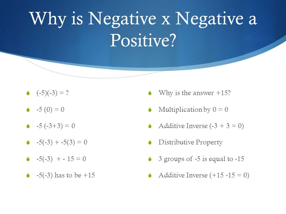 Why is Negative x Negative a Positive.  (-5)(-3) = .