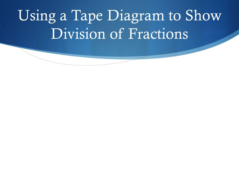 Using a Tape Diagram to Show Division of Fractions