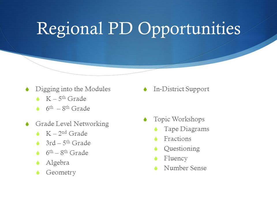 Regional PD Opportunities  Digging into the Modules  K – 5 th Grade  6 th – 8 th Grade  Grade Level Networking  K – 2 nd Grade  3rd – 5 th Grade  6 th – 8 th Grade  Algebra  Geometry  In-District Support  Topic Workshops  Tape Diagrams  Fractions  Questioning  Fluency  Number Sense