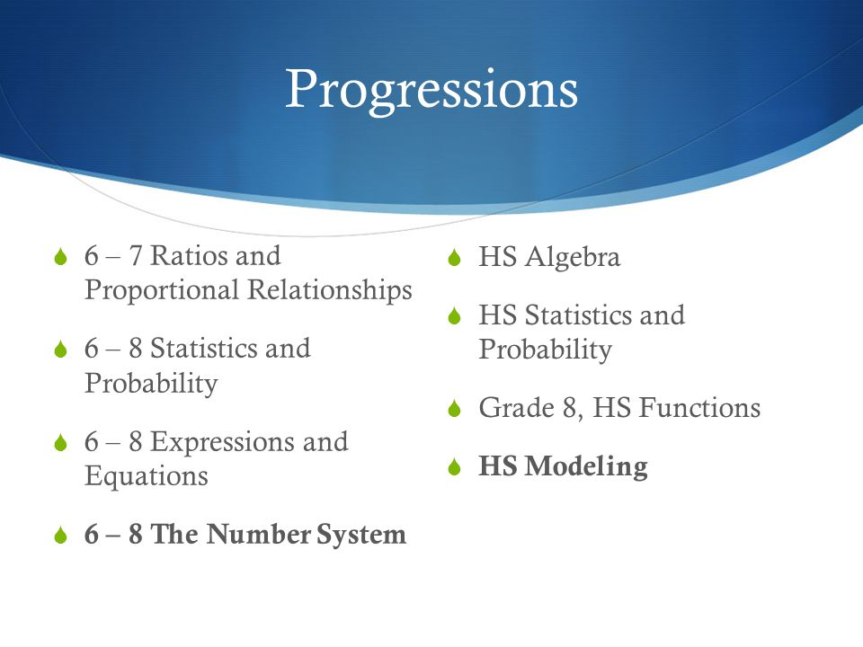 Progressions  6 – 7 Ratios and Proportional Relationships  6 – 8 Statistics and Probability  6 – 8 Expressions and Equations  6 – 8 The Number System  HS Algebra  HS Statistics and Probability  Grade 8, HS Functions  HS Modeling