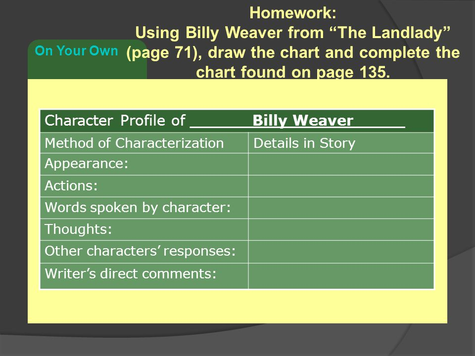 On Your Own Homework: Using Billy Weaver from The Landlady (page 71), draw the chart and complete the chart found on page 135.