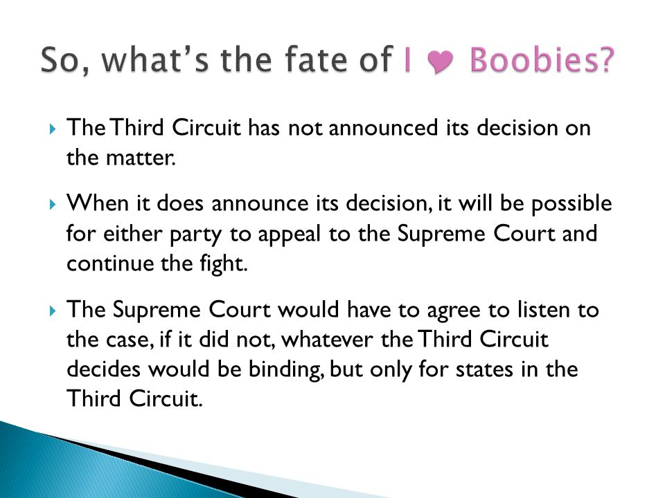  The Third Circuit has not announced its decision on the matter.