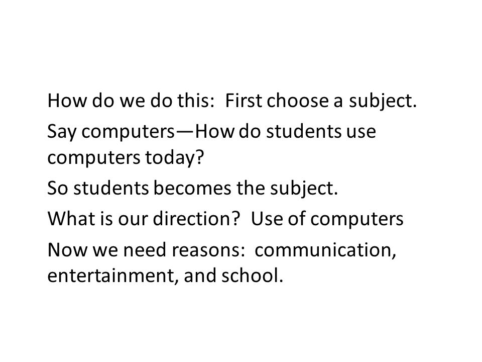How do we do this: First choose a subject. Say computers—How do students use computers today.