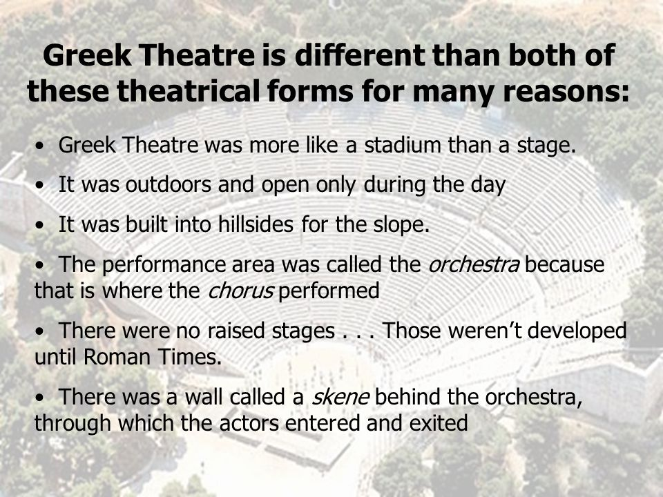 What are some typical aspects of Modern Day Theatre?