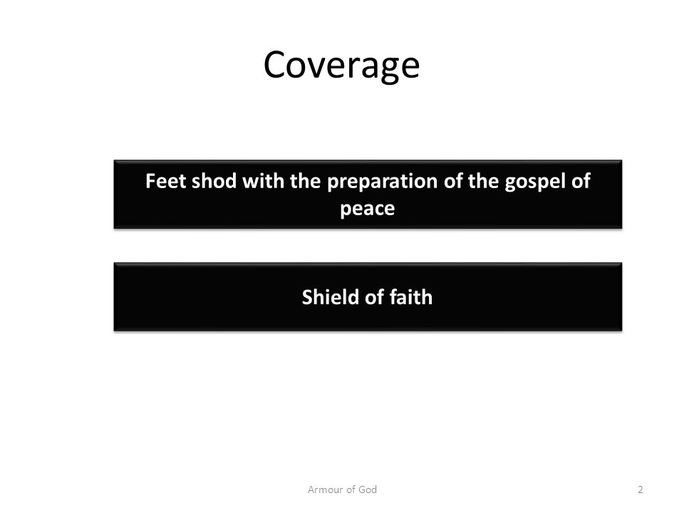 Coverage Armour of God2 Feet shod with the preparation of the gospel of peace Shield of faith