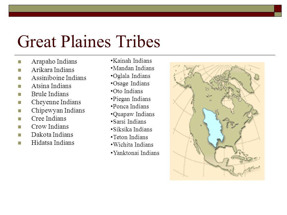 Great Plaines Tribes Arapaho Indians Arikara Indians Assiniboine Indians Atsina Indians Brule Indians Cheyenne Indians Chipewyan Indians Cree Indians