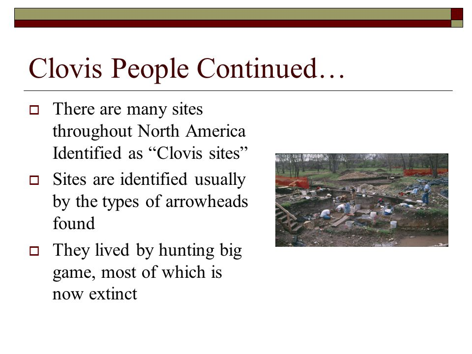 After Clovis  Prevailing theory is that Clovis People are the ancestors of all Native American groups  The Clovis way of life ended with the extinction of the animals they hunted  Different groups split off from one another, forming their own cultures in different locations throughout North America  Genetic study suggests that all Native American groups can be linked to a single founding population