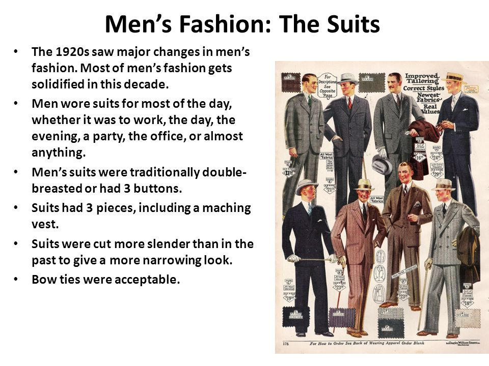 Men's Fashion: The Suits The 1920s saw major changes in men's fashion.