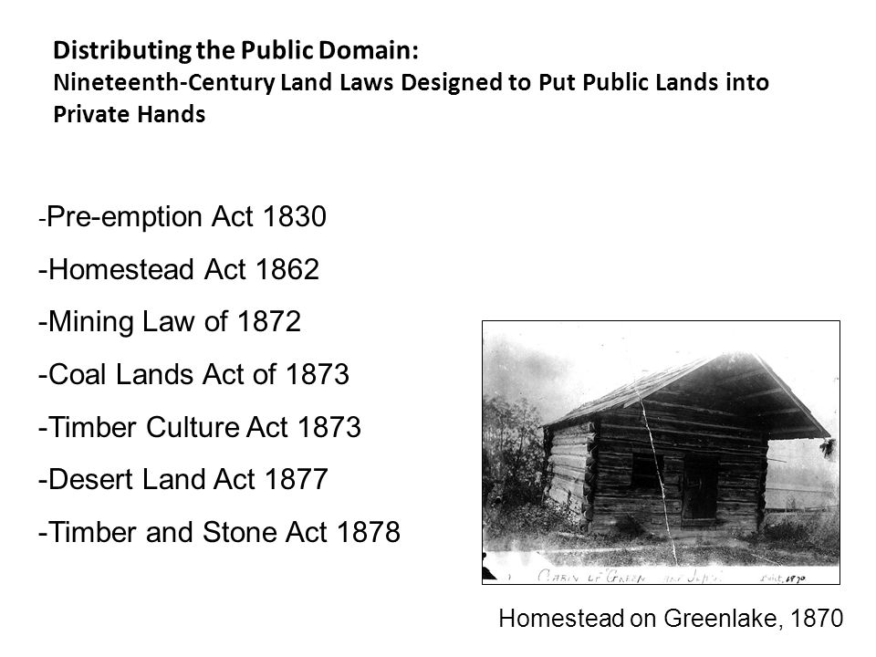 Distributing the Public Domain: Nineteenth-Century Land Laws Designed to Put Public Lands into Private Hands - Pre-emption Act 1830 -Homestead Act 1862 -Mining Law of 1872 -Coal Lands Act of 1873 -Timber Culture Act 1873 -Desert Land Act 1877 -Timber and Stone Act 1878 Homestead on Greenlake, 1870