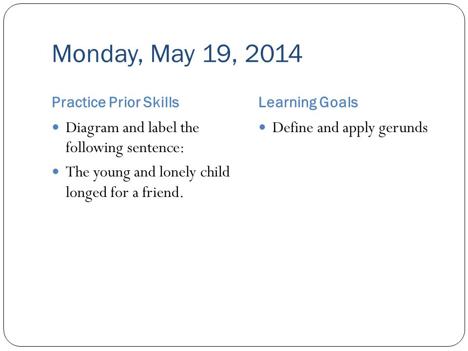 Monday, May 19, 2014 Practice Prior SkillsLearning Goals Diagram and label the following sentence: The young and lonely child longed for a friend.