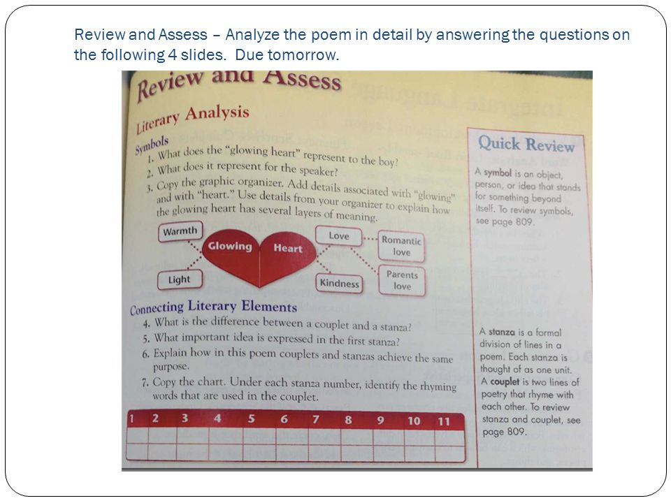 Review and Assess – Analyze the poem in detail by answering the questions on the following 4 slides.