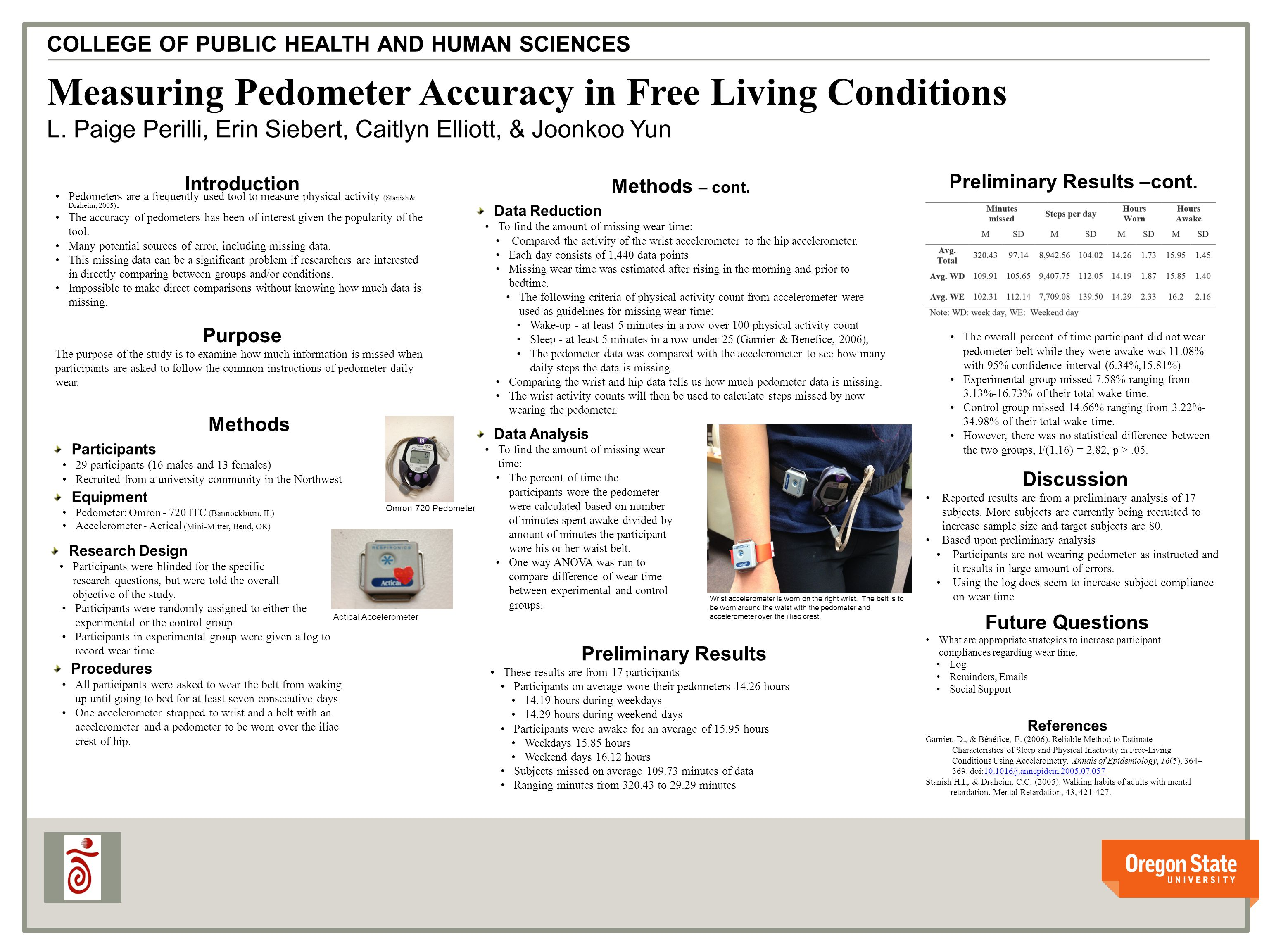 v v Measuring Pedometer Accuracy in Free Living Conditions L.