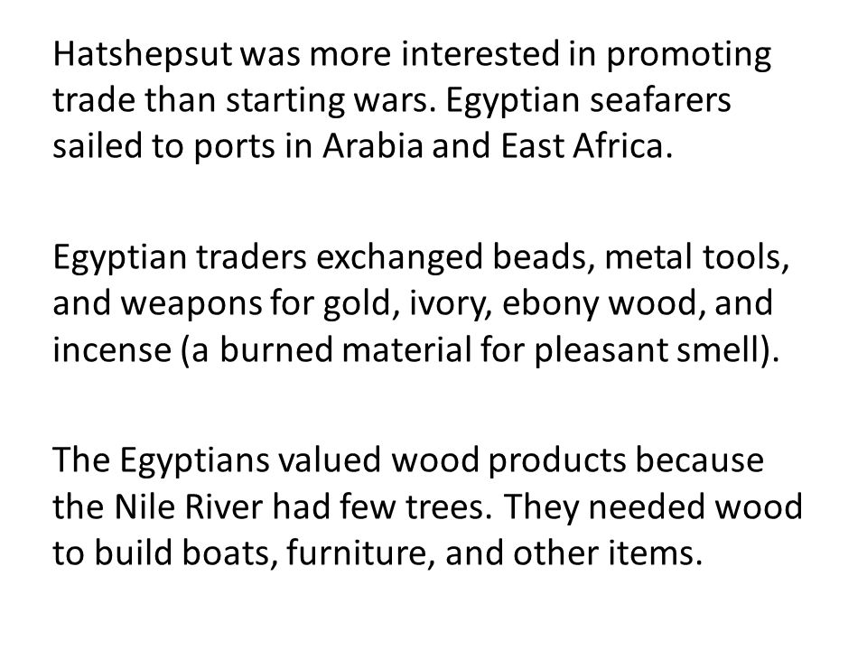 Independent Reading Complete the reading and questions on trade and politics in Ancient Egypt.