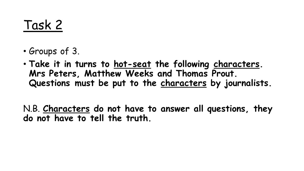 Task 2 Groups of 3. Take it in turns to hot-seat the following characters.