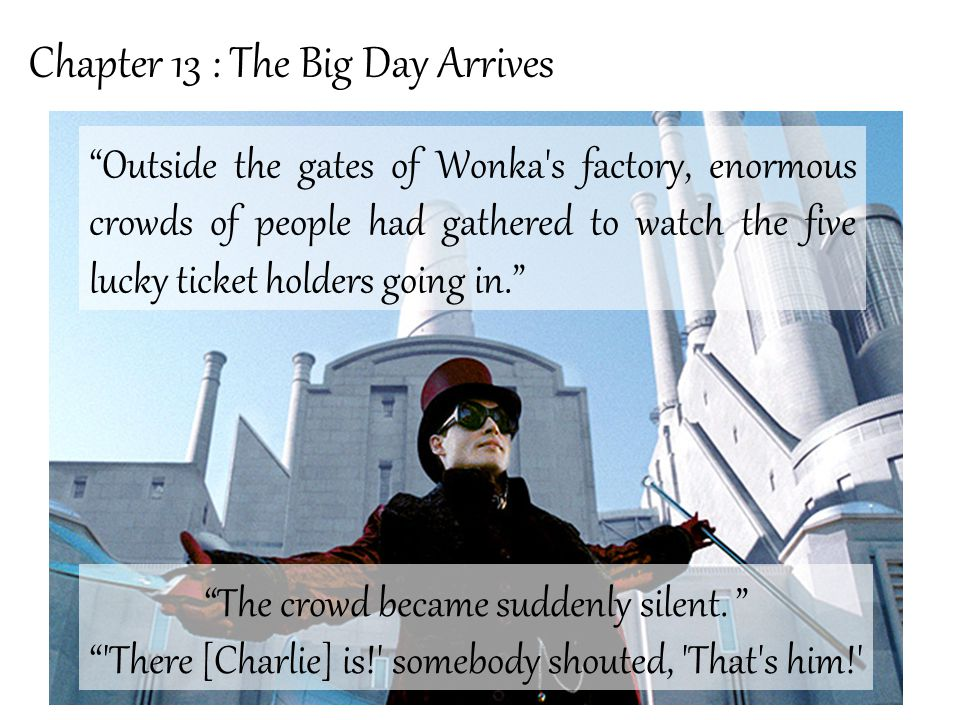Chapter 14 : Mr Willy Wonka Mr Wonka was standing all alone just inside the open gates of the factory.