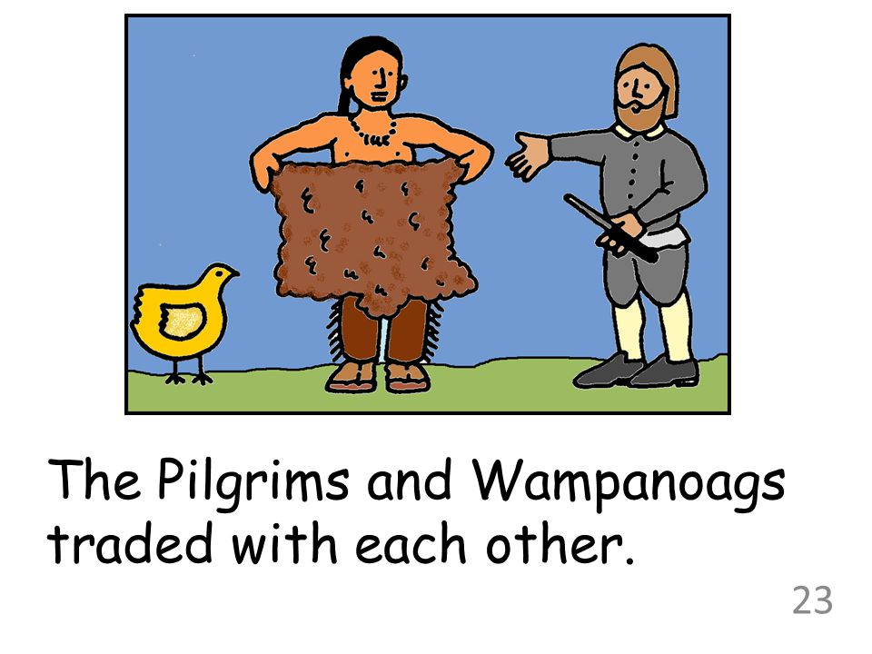The Pilgrims and Wampanoags traded with each other. 23