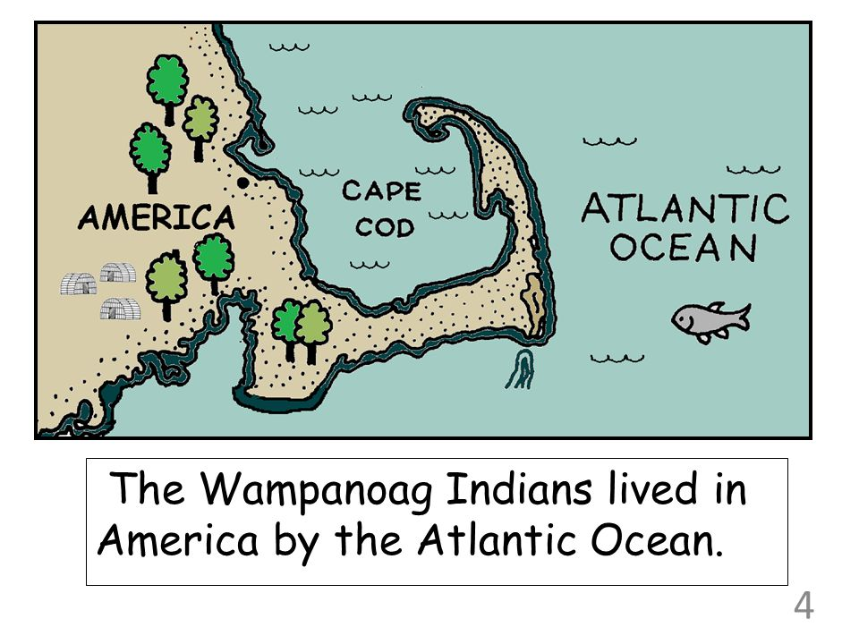 The Wampanoag Indians lived in America by the Atlantic Ocean. 4