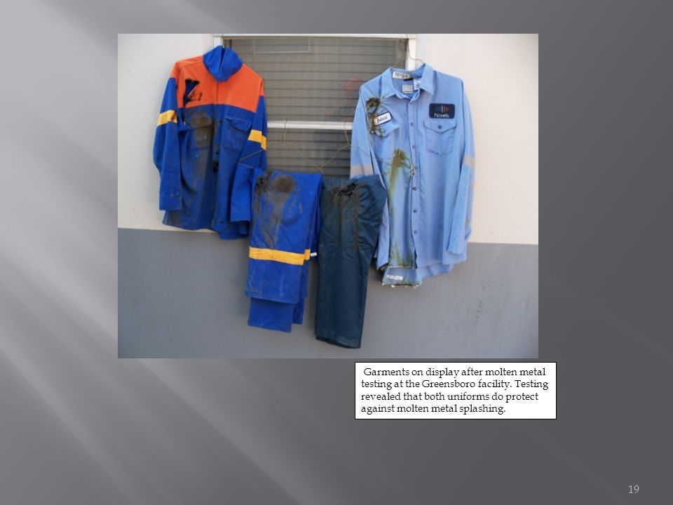 Garments on display after molten metal testing at the Greensboro facility.