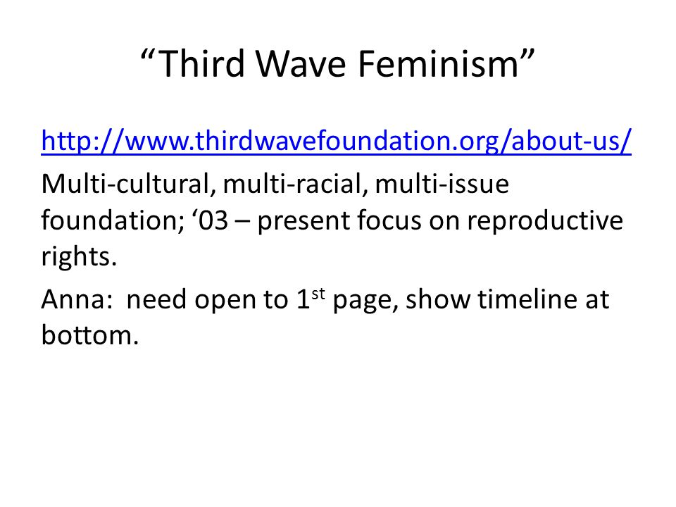 """Third Wave Feminism"" http://www.thirdwavefoundation.org/about-us/ Multi-cultural, multi-racial, multi-issue foundation; '03 – present focus on reprod"