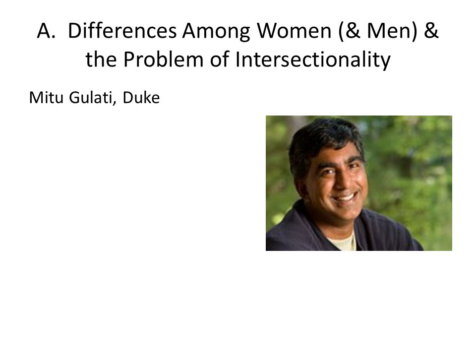 A. Differences Among Women (& Men) & the Problem of Intersectionality Mitu Gulati, Duke