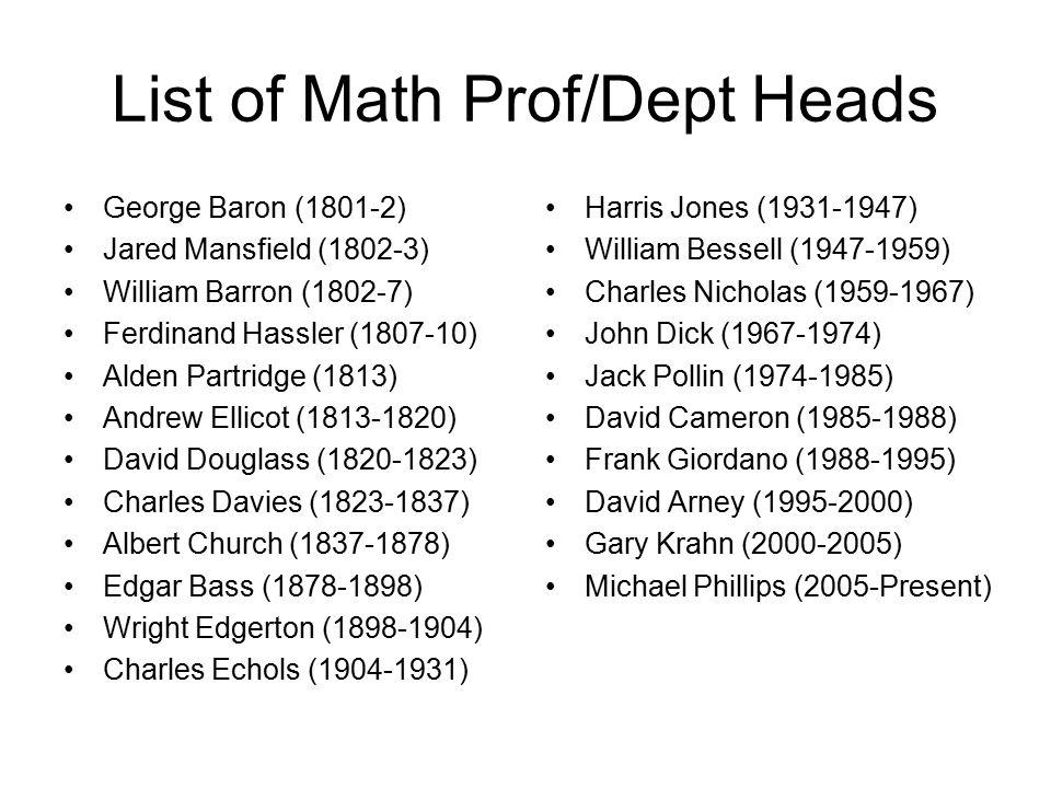 List of Math Prof/Dept Heads George Baron (1801-2) Jared Mansfield (1802-3) William Barron (1802-7) Ferdinand Hassler (1807-10) Alden Partridge (1813) Andrew Ellicot (1813-1820) David Douglass (1820-1823) Charles Davies (1823-1837) Albert Church (1837-1878) Edgar Bass (1878-1898) Wright Edgerton (1898-1904) Charles Echols (1904-1931) Harris Jones (1931-1947) William Bessell (1947-1959) Charles Nicholas (1959-1967) John Dick (1967-1974) Jack Pollin (1974-1985) David Cameron (1985-1988) Frank Giordano (1988-1995) David Arney (1995-2000) Gary Krahn (2000-2005) Michael Phillips (2005-Present)