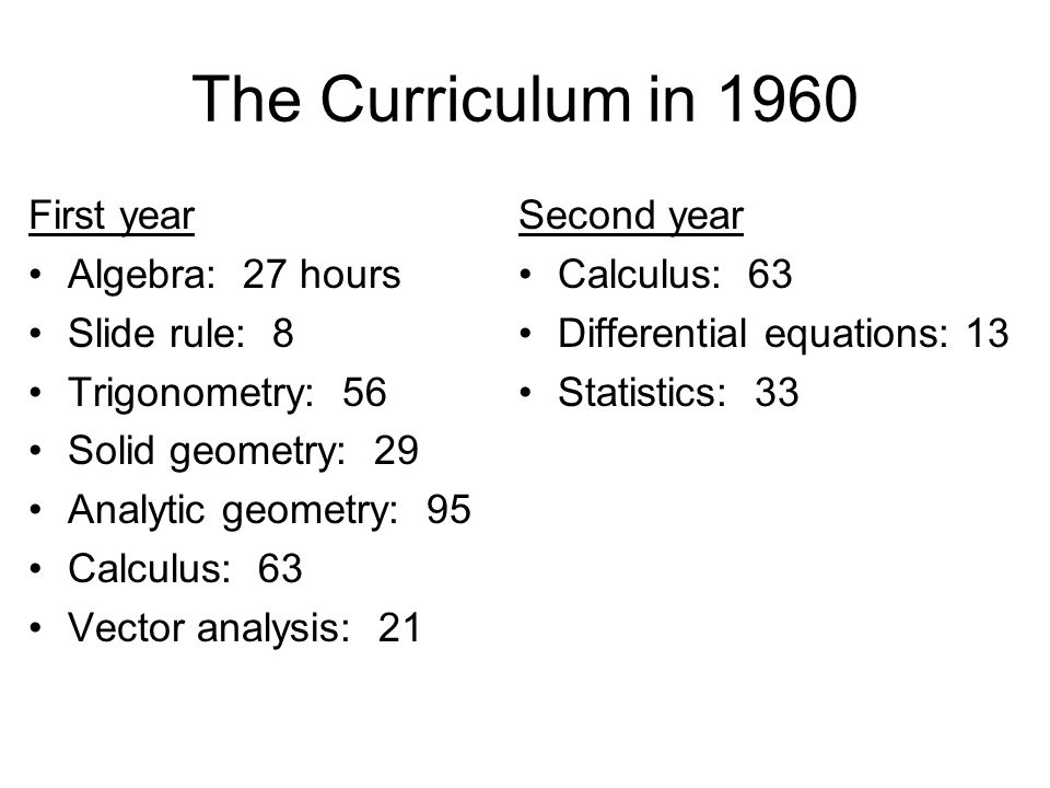 The Curriculum in 1960 First year Algebra: 27 hours Slide rule: 8 Trigonometry: 56 Solid geometry: 29 Analytic geometry: 95 Calculus: 63 Vector analysis: 21 Second year Calculus: 63 Differential equations: 13 Statistics: 33