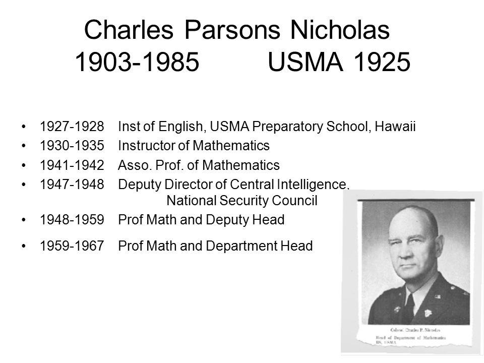 Charles Parsons Nicholas 1903-1985USMA 1925 1927-1928Inst of English, USMA Preparatory School, Hawaii 1930-1935Instructor of Mathematics 1941-1942Asso.