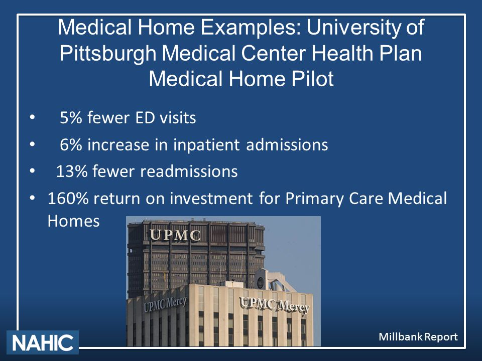 Medical Home Examples: University of Pittsburgh Medical Center Health Plan Medical Home Pilot 5% fewer ED visits 6% increase in inpatient admissions 13% fewer readmissions 160% return on investment for Primary Care Medical Homes Millbank Report