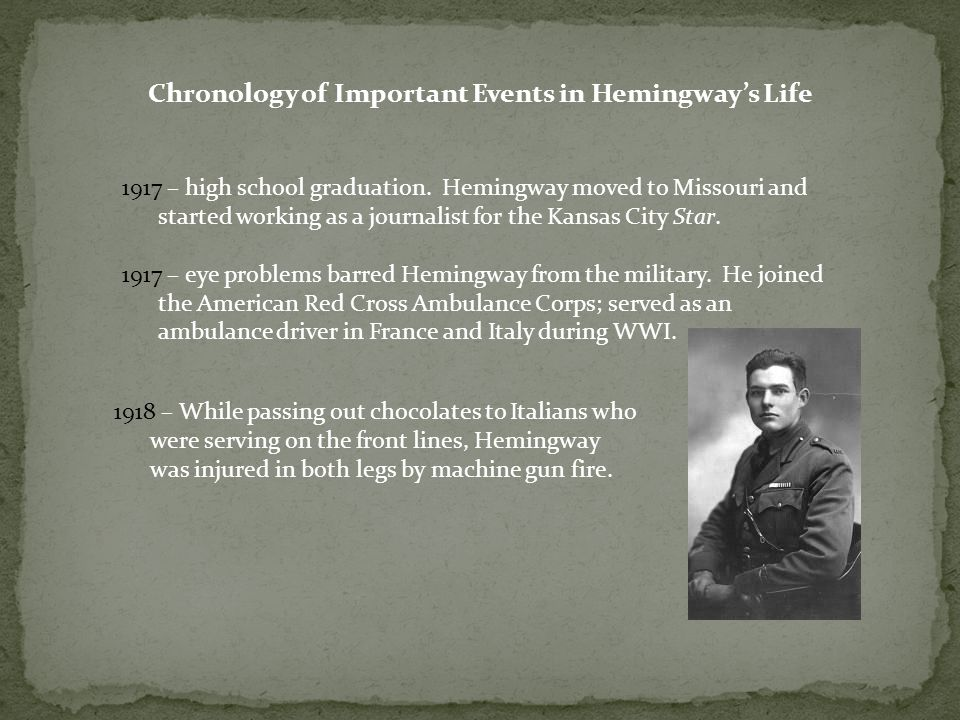 Chronology of Important Events in Hemingway's Life 1917 – high school graduation. Hemingway moved to Missouri and started working as a journalist for