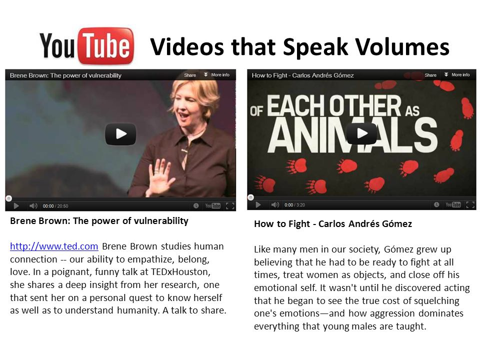 Videos that Speak Volumes Brene Brown: The power of vulnerability http://www.ted.comhttp://www.ted.com Brene Brown studies human connection -- our ability to empathize, belong, love.