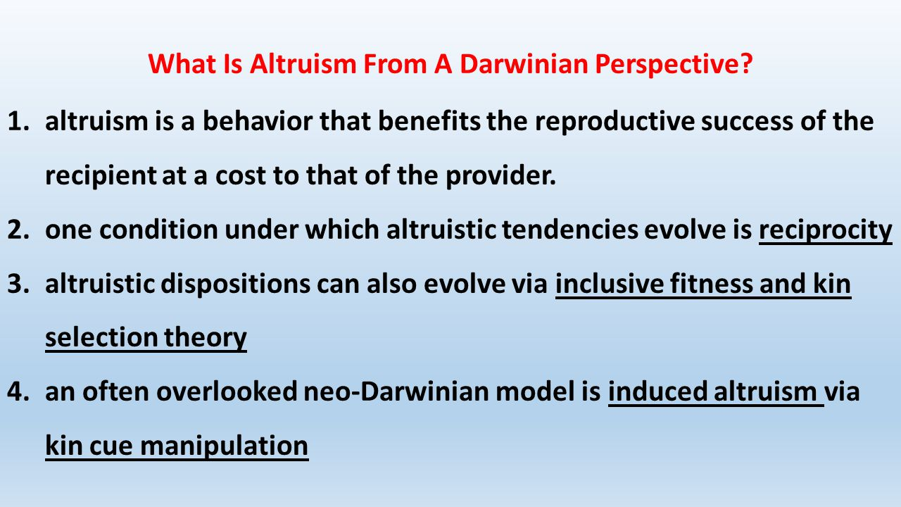 What Is Altruism From A Darwinian Perspective.