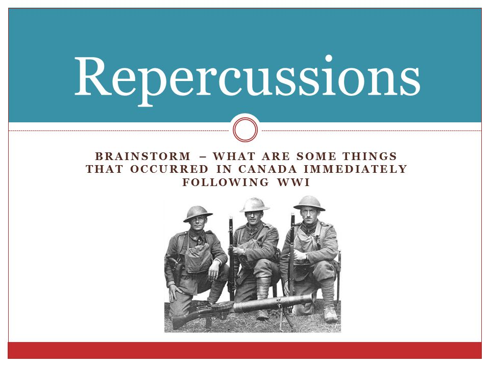 BRAINSTORM – WHAT ARE SOME THINGS THAT OCCURRED IN CANADA IMMEDIATELY FOLLOWING WWI Repercussions