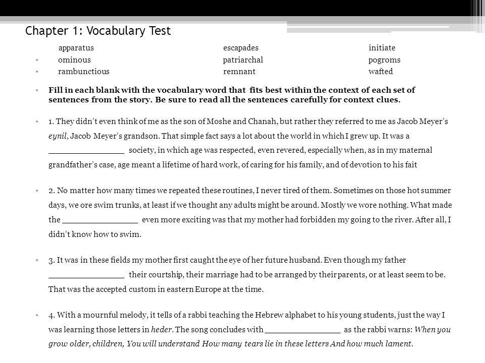 Chapter 9: Vocabulary periphery – p154 jostling – p154 malnourished – p154 shunted – p158 periodically – p158 tutelage – p160 genuinely – p161 tumult – p163 limbo – p164 affirmation – p165