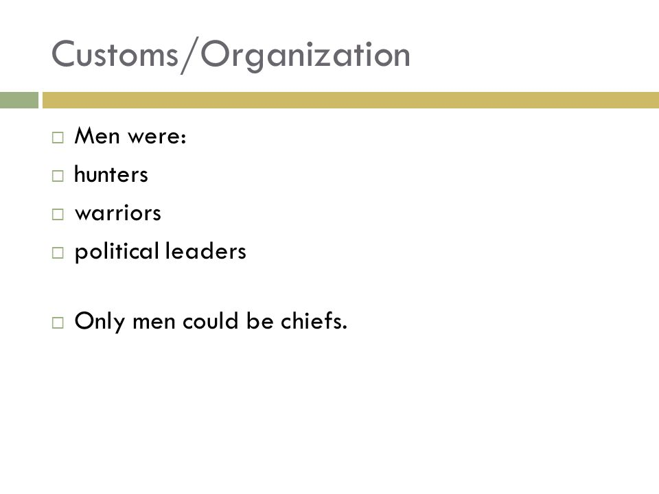Customs/Organization  Men were:  hunters  warriors  political leaders  Only men could be chiefs.