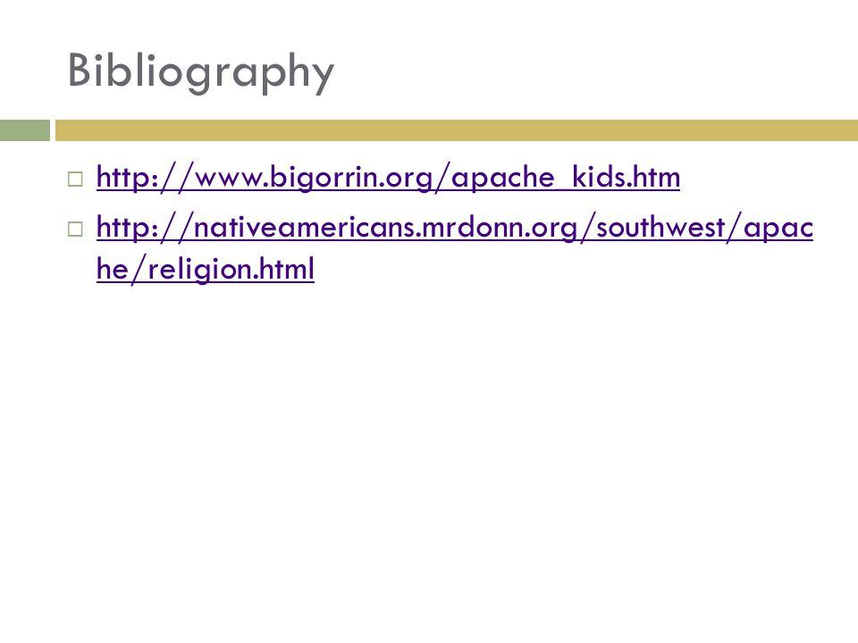 Bibliography  http://www.bigorrin.org/apache_kids.htm http://www.bigorrin.org/apache_kids.htm  http://nativeamericans.mrdonn.org/southwest/apac he/religion.html http://nativeamericans.mrdonn.org/southwest/apac he/religion.html
