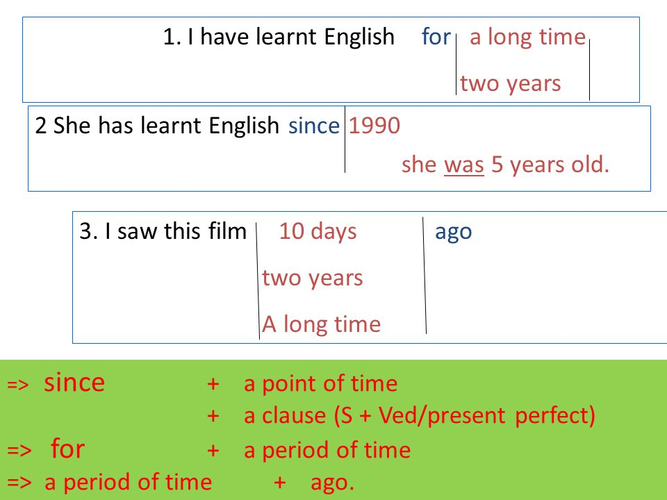 1.I have learnt English for a long time two years 2 She has learnt English since 1990 3.